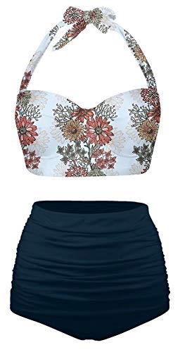 Angerella Womens Decorative Beauty Sunflowers Seamless Pattern Retro Bikinis Push up Swimsuits, M-20