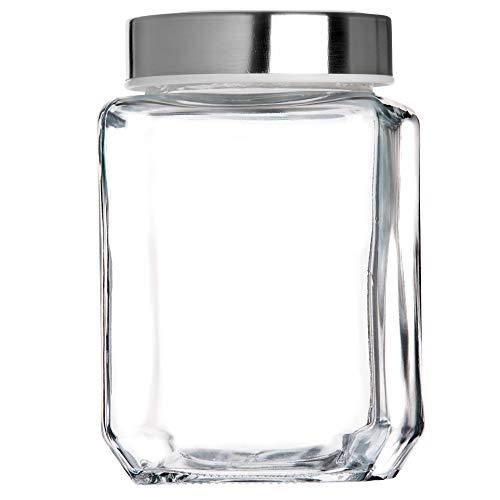 KADAX Vorratsglas, Glasbehälter mit Deckel aus Kunststoff, Lebensmittelbehälter aus Glas, Vorratsdose für Nudeln, Spaghetti, Gewürze, Einweckglas, transparent, luftdicht (700ML, weiß)