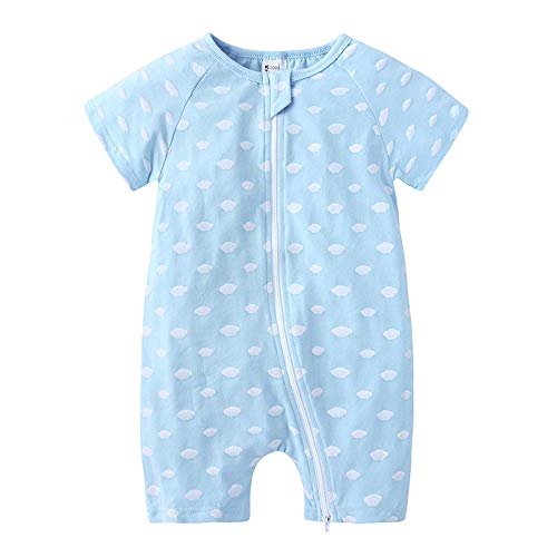 Treer Baby Strampler Mädchen und Jungs, Spielanzug Baumwolle Sommer Babybody Baby Kurzarm-Body für Süß Neugeborene Weich Bequem Short-Sleeve Bodysuits (90cm,Blaue weiße Wolke)
