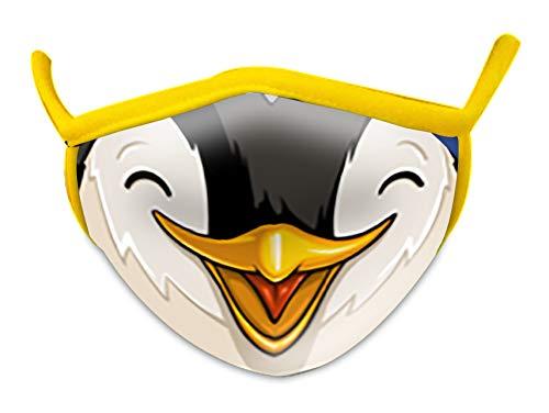 Wild Republic Mascherina per bambini Wild Smiles, perfetta da applicare sopra alla mascherina per uso medico, riutilizzabile, lavabile, mascherina metà viso, motivo pinguino, Penguin