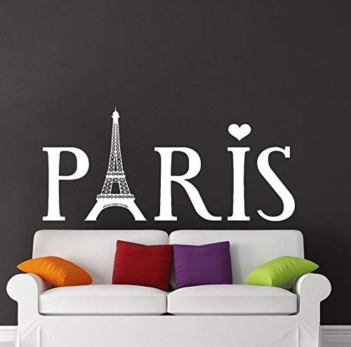 zqyjhkou Removable Eiffel Tower Wall Decal Paris Silhouette Vinyl Stickers Art Home Decoratuion Beding Room House Interior Poster N56x130cm