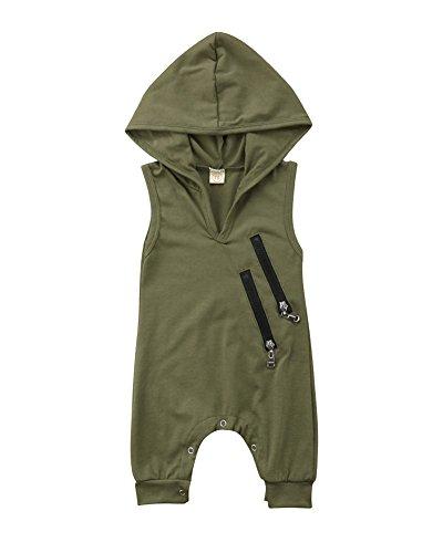 Macaquinho sem mangas e com capuz para bebês recém-nascidos, meninos e meninas, cor verde, com zíper, para o verão, roupas casuais, A-green, 18-24 meses