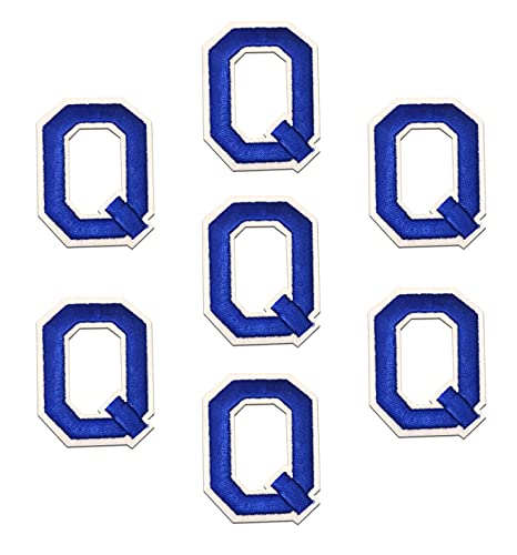 """Iron on Letter Patches - Blue """"Q"""" Letter 7pcs Alphabet Letter A-Z Iron on Patches Sew on Approx. 2.2 x1.9 inches (Blue, Q)"""