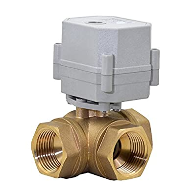 "HSH-Flo 3 Way 1/2"" 3/4"" 1"" 110-230VAC L Type Auto Return Brass Electrical On/Off Motorized Ball Valve (1"" Brass) by HSH-Flo"