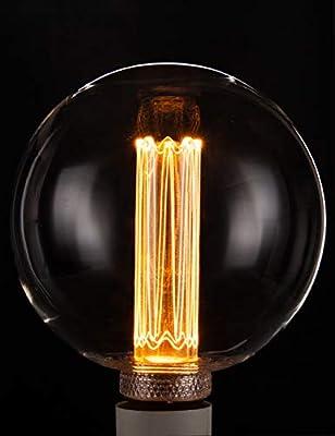 Vintage Round LED Light Bulb, Globe Clear Glass Bulb, Dimmable 3.5W Harwez RN G125/G40, 2200K Warm Lighting, E26 Medium Base, Decorate Restaurant Coffee Shop Kitchen