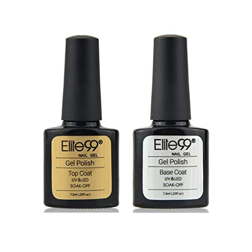 Elite99 base coat en top coat Nagellak, semi-permanent, manicure-set, uv nagellak, Soakoff nagelkunst Base et top coat 7,3ml