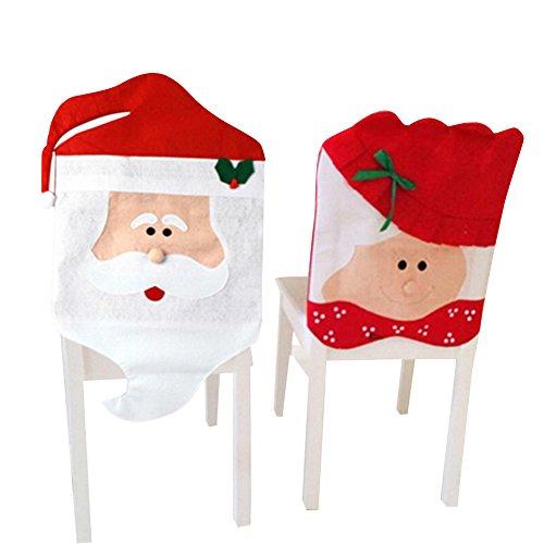 West See 2 Stück Weihnachtsmann Santa Stuhlhusse Husse Weihnachtsmütze Nikolausmütze Weihnachtsdeko Stuhlüberzug