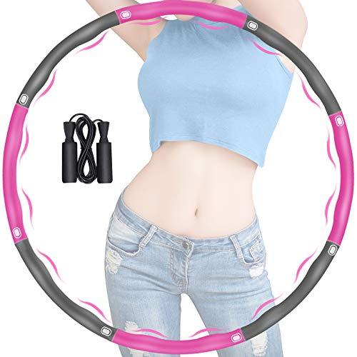 Hula Hoop Reifen Erwachsene, Hula Reifen Hoop Erwachsene zur Gewichtsabnahme, 8 Abschnitte mit Schaumstoff Abnehmbarer Reifen Hoop, Einstellbares Hoop-Reifen mit Seilspringen für Fitness (Rose + Grau)