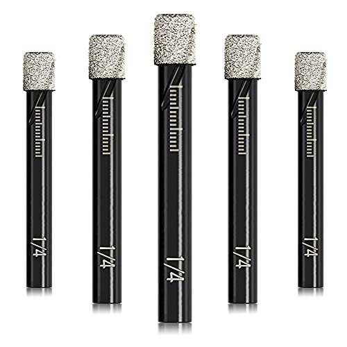 DKIBBITH 1/4' Dry Diamond Drill Bits Set 5 PCs 6mm for Granite Ceramic Marble Tile Stone Glass Hard Materials (not for Wood), Round Shank with Storage Case