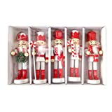 5pcs 12cm Wooden Nutcracker Puppet Walnuts Soldier Doll Pendant Christmas Decor Christmas Nutcracker Ornaments Set, Wooden Nutcracker Figures Soldier Puppet Toy Party Outdoor Tree Hanging Decorations