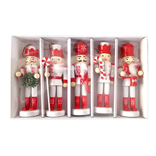 XUTU Decoración de Navidad Madera Cascanueces Marioneta de Nogales Soldado Muñeca Colgante Decoración Árbol de Navidad Colgante Ornamento Decoración, 5pcs 12cm