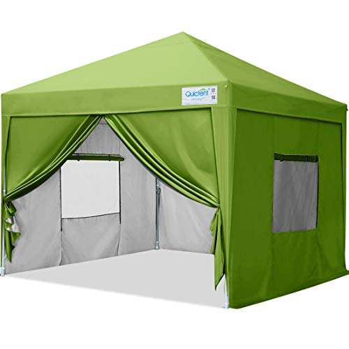 Quictent Privacy 10x10 Ez Pop up Canopy Tent Enclosed Instant Canopy Shelter with Sidewalls and Mesh Windows Waterproof (Green)