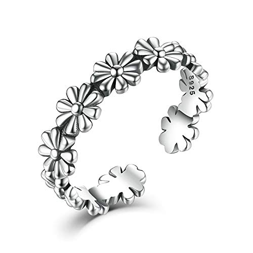 Shuxin 925 Sterling Silver Ring for Women, Adjustable Solid Vintage Silver Thumb Ring, Unisex Resizable Flower Open Finger Ring, Silver Knuckle Toe Rings for Men Ladies Girls, Gift for Christmas