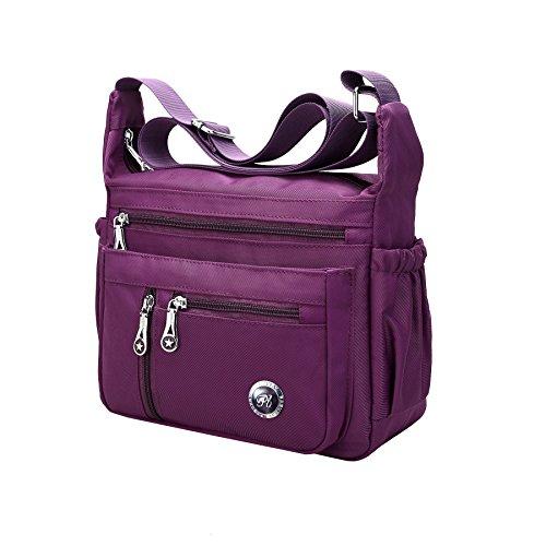 Fabuxry Purses and Shoulder Handbags for Women Crossbody Bag Messenger Bags (Purple)