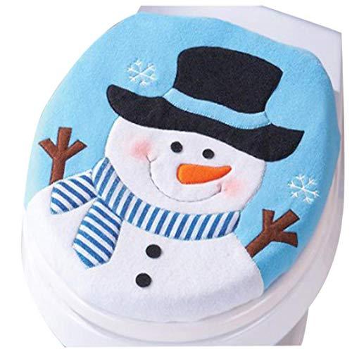 YunYoud Fancy Snowman Toilet coprisedile, Snowman Toilet set singolo coperchio stampato WC di Natale...