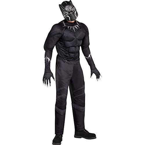 Costumes USA Black Panther Muscle Costume for Adults, Standard Size, Includes a Padded Jumpsuit, a Mask, and Gloves