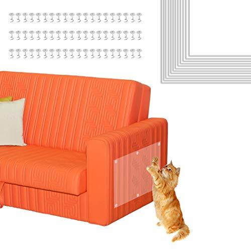 Bluelves Kratzschutz Katze, 12 Stück Kratzschutz Sofa Möbelschutz, Anti Kratzschutz Set für Katze Hund, Katzen Couch Schutz, Transparent Katze Klebeband Sofaschutz, für Möbel, Tür, Sofa, Wand