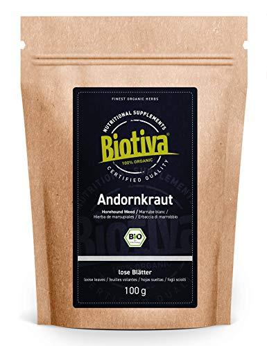 Andornkraut Tee Bio 100g - Weißes Andorn Kraut geschnitten - Arzneipflanze 2018 - Marrubium vulgare - abgefüllt und kontrolliert in Deutschland (DE-ÖKO-005)