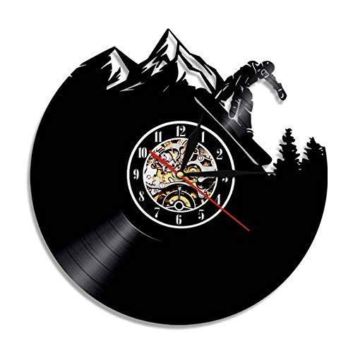 Dsnmm Freestyle Ski Wandkunst Wanduhr Wintersport Berg Vintage Vinyl-Schallplatte Uhr Schnee Ski Snowboard Geschenk Uhr Ski mit LED (Color : Without Led)