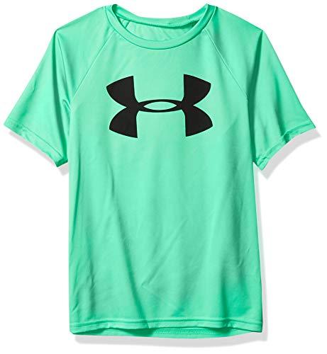 Under Armour Boys' Tech Big Logo Short Sleeve Gym T-Shirt, Vapor Green (299)/Black, Youth X-Large