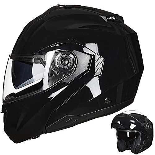 ILM Motorcycle Helmets for Adults Dual Visor Enlarged Air Vents Modular Full Face Cascos para Motos Men Women DOT(Gloss Black,Large)