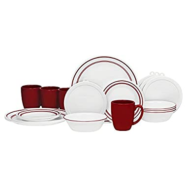 Corelle 20 Piece Livingware Dinnerware Set with Storage,Classic Cafe Red, Service for 4