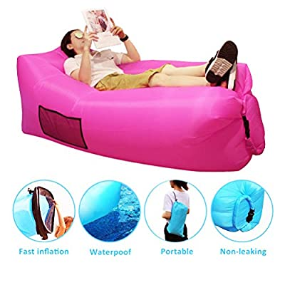 SIEMOO Inflatable Lounger - Outdoor Best Air Lounger Air Sofa for Travelling, Camping, Hiking - Ideal Inflatable Couch for Pool and Beach Parties Music Festivals Camping Picnics (Rose Red)