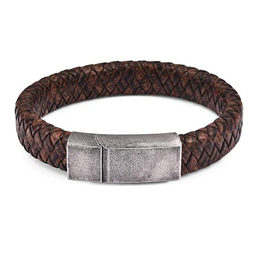 Jewellery Bracelets Bangle For Womens Retro Clasp Leather Bracelet For Men Braided Chain Bracelet Punk Stainless Steel Male Jewelry Gifts-Vintage_Bracelet_1_20.5Cm
