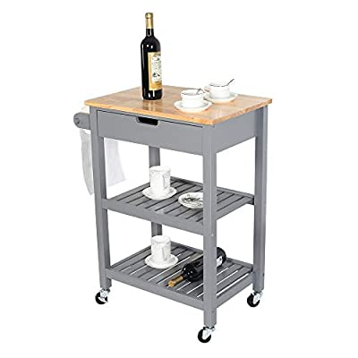 LUCKWIND Island Cart Serving Wheel – Home Kitchen Dining Bar Rolling Shelf Storage Cabinet Wood Rack Drawer Counter Break Towel Bar for Microwave Seasoning White/Grey by LUCKWIND
