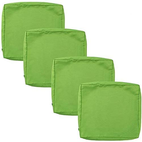 MeMoreCool 4 Pack Chair Cushion Covers, Outdoor Waterproof Garden Cushion Cover, for Patio Garden Office Chair Bench, Only Covers, 60x55x10cm (Green)