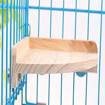 MQUPIN Support de perchoir pour Oiseau Plateforme Accessoires de Cage à Oiseaux en Bois pour Perroquet, Perruche, Conure, Perruche, Perruche, Gerbille, Rat, Souris, Chinchilla, Hamster