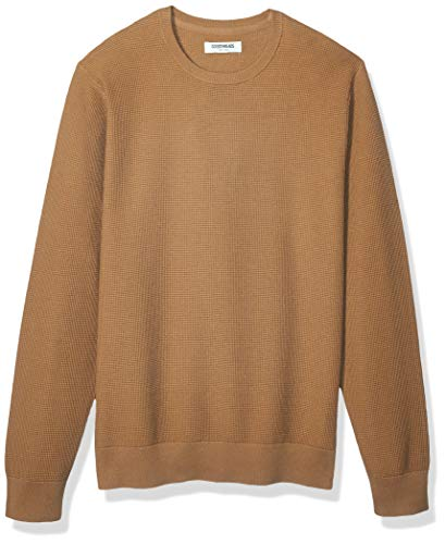 Amazon Brand - Goodthreads Men's Soft Cotton Thermal Stitch Crewneck Sweater, Camel Large