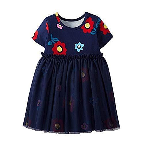 Houfung 2–7 Jahre Baby Mädchen Kinder Mesh kurze Ärmel Baumwolle Sommer Mädchen Party Kleid Gr. 116, blau