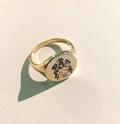Coat of Arms Family Crest Engraved Signet Ring, women/men Gold Ring, Handmade Jewellry