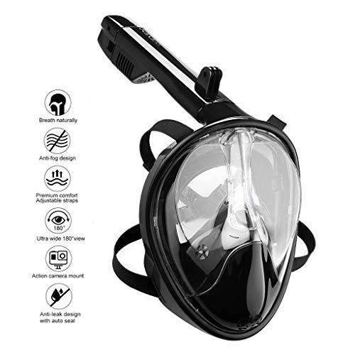 OCEVEN 180° Vollgesichts-Schnorchelmaske Easy Breath Anti-Fog/Anti-Leak Schnorchelmaske mit Verstellbaren Kopfbändern, mit längerem Schnorchelschlauch (S/M, Schwarz)