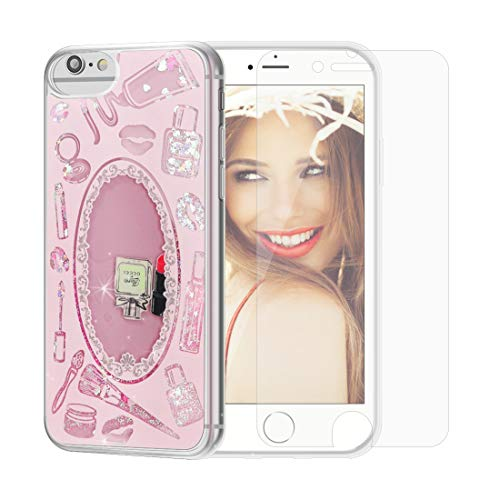 SanLead Cover Compatibile Nuovo iPhone SE/6/6s/7/8, Copertura protettiva per arte liquida con frammenti scintillanti e sabbie mobili spessi Protezione antiurto e antigraffio (red) (pink)