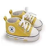 DEBAIJIA Bebé Primeros Pasos Zapatos de Lona6-12M NiñosAlpargata Suave Antideslizante Ligero Slip-on 18 EU Amarillo (Tamaño Etiqueta-2)