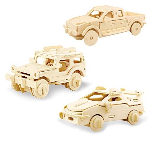 Georgie Porgy Hölzerne 3D Puzzle Sammlung Puzzle Modell Kit Baukasten Holzhandwerk Kinder Puzzle Pädagogisches Spielzeug DIY Geschenk Alter 5+ Packung 3 (Jeep Ferrari Pickup)