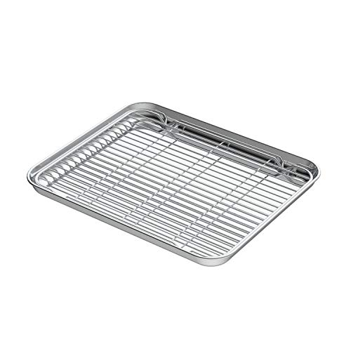 Small Baking Sheets with Rack, HEAHYSI Mini Cookie Sheets and Nonstick Cooling Rack & Stainless Steel Baking Pans & Toaster Oven Tray Pan, Rectangle Size 9.4 x 7x 1 inch & Non Toxic