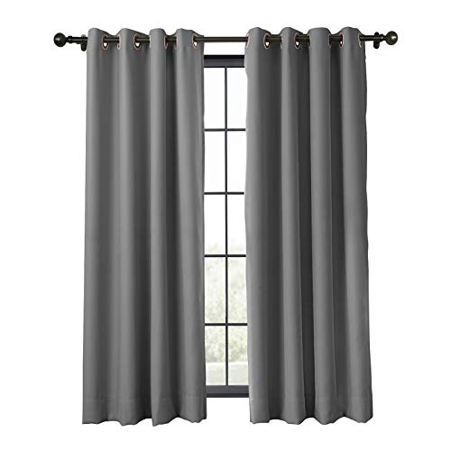 TWOPAGES Flame Retardant Fireproof Curtain for Classroom, Blackout Thermal Insulated Fire Resistant Curtain Window Drape (Gray, 1 Panel, W50 x L63 Inches)