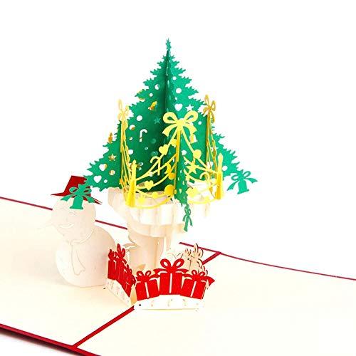 10pcs 3D Pop up Cards Feliz Navidad Origami Papel Tarjetas postales cortadas con láser Tarjetas de felicitación de regalo Árbol de Navidad colorido hecho a mano