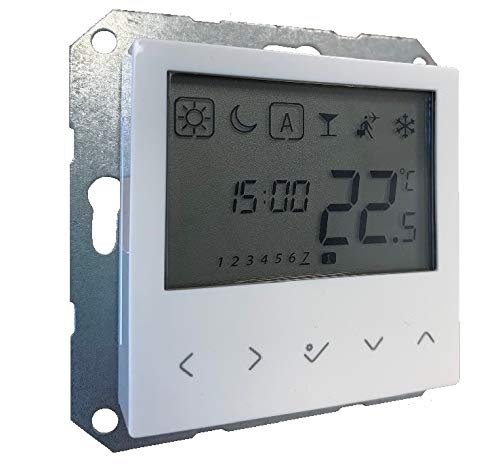 Raumthermostat digital LCD Display reinweiss glänzend 55er