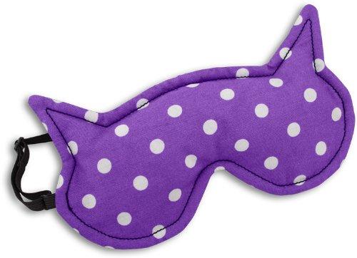 Leschi SCHLAFMASKE lichtdicht für erholsamen Schlaf/Augenmaske mit Kühlkissen/Schlafbrille kühlend und wärmend, aus Baumwolle/Reisegeschenk für Frauen, Kinder, Mädchen/Katze Luna, lila
