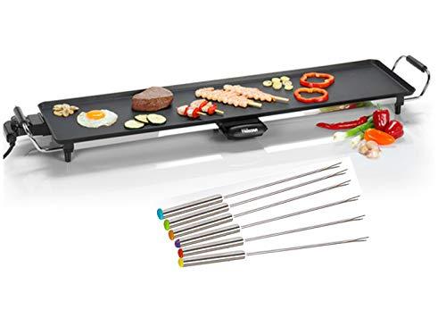 Teppanyaki - Barbacoa XXL con 6 tenedores Teppan Yaki, parrilla de mesa eléctrica con depósito de grasa extraíble, 1800 W, placa antiadherente