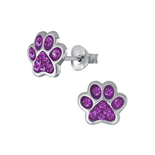 Laimons - Pendientes infantiles para niña, joyas para niños, diseño de huellas de perro, pata de pata con pata de pata de pato, con purpurina, en color lila, 7 mm, pequeños, de plata de ley 925