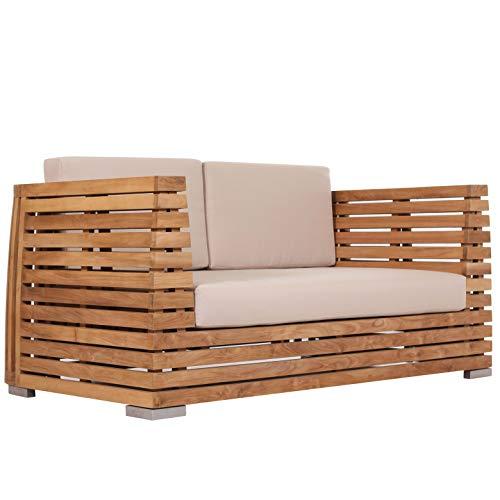Teako Design Sofá de 2 plazas Picardie de Madera de Teca Maciza, Resistente a la Intemperie