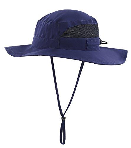 Connectyle Toddler Kids UPF 50+ Mesh Safari Sun Hat UV Sun Protection Hat Summer Daily Bucket Hat Navy Blue