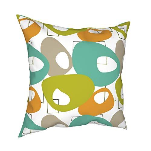 Funda de almohada decorativa para sofá, hogar, diseño de círculos abstractos de mediados de siglo, color turquesa y naranja