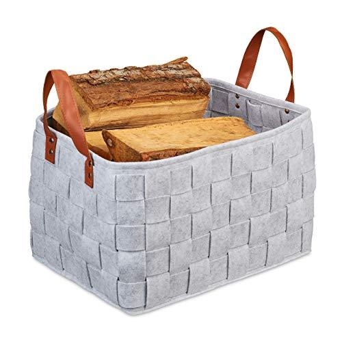 Relaxdays Aufbewahrungskorb Filz, faltbare Aufbewahrungsbox, Filzkorb mit Henkeln, HxBxT: 26 x 40 x 30 cm, hellgrau