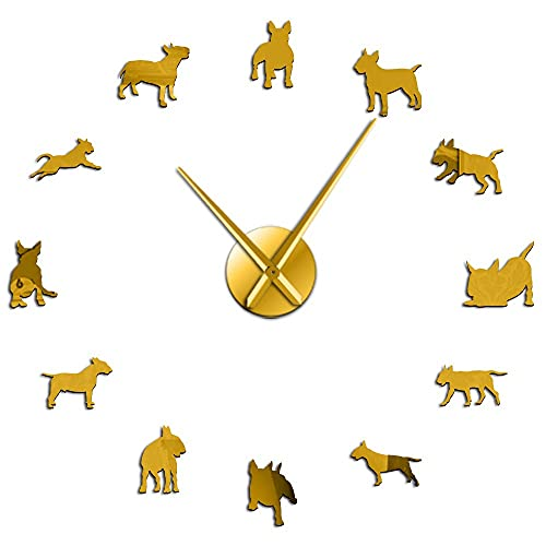 Bull Terrier Dog Wall Art DIY Large Wall Clock Dog Breed Pug Big Needle Clock Watch Pet Shop Decor Gift for Bull Terrier Lovers